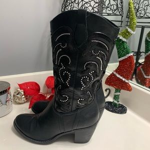 Limelight Black Blinged Western Boots - Size 8
